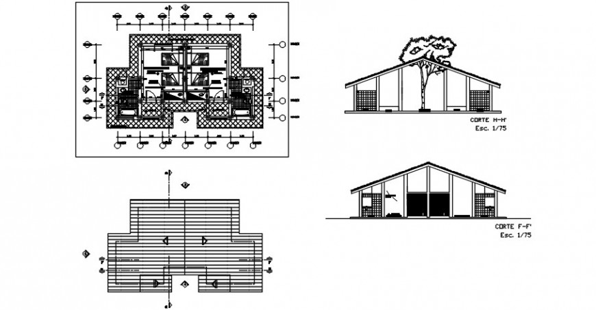 2d Layout plan and sectional details of bungalow dwg file