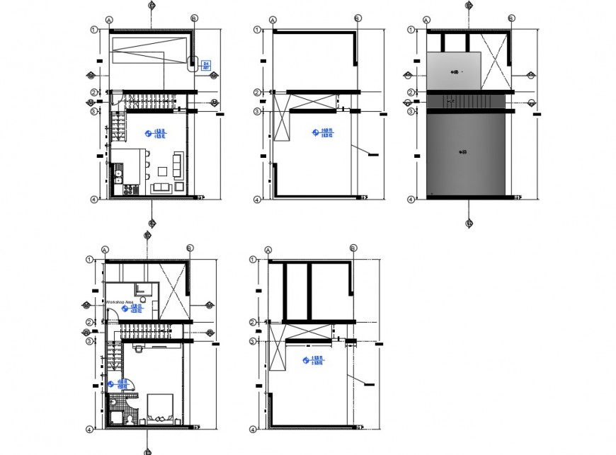 2d layout plan of housing structure autocad file