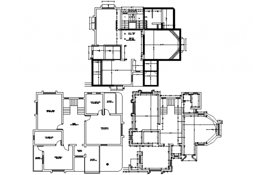 2d layout plan of villa project autocad file
