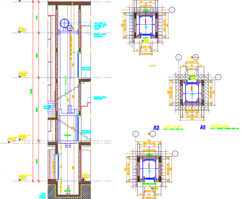 2d Lift installation detail dwg file