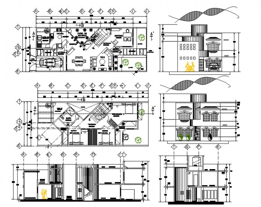 2d modern residence house drawing dwg file