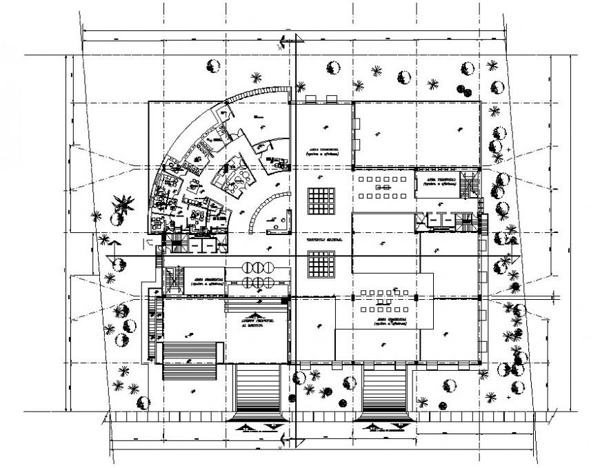 2d office building floor detail cad file