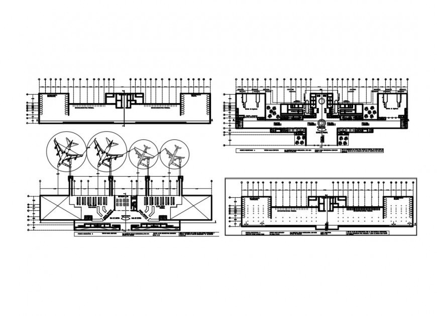 2d plan detail of airport building plan layout file in autocad format