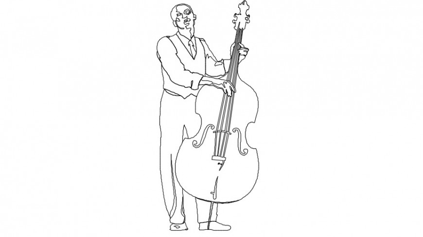 2d people with violin cad file