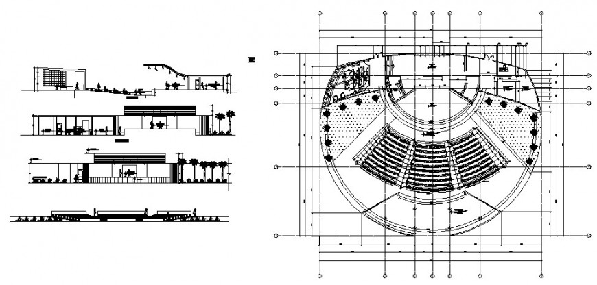 2d plan, elevation and section detail of multi-plex theater building layout file in autocad format