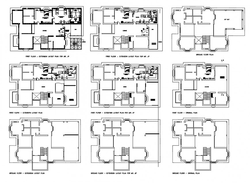 2d plan detail of high rise building block layout file in dwg format