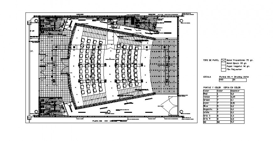 2d plan detail of multi-plex theater building layout file in autocad format