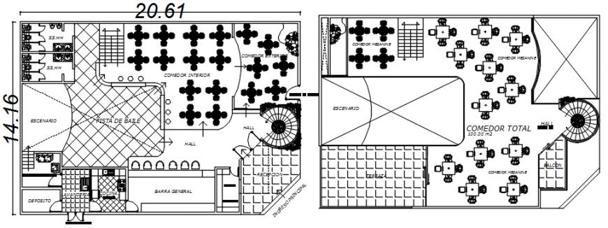 2d plan of restaurant building plan details in autocad software file