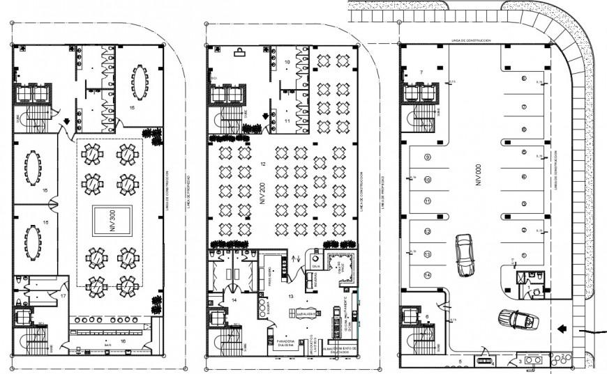 2d planning of restaurant plan dwg autocad software file