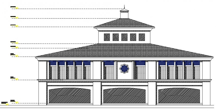 2d restaurant elevation design cad file