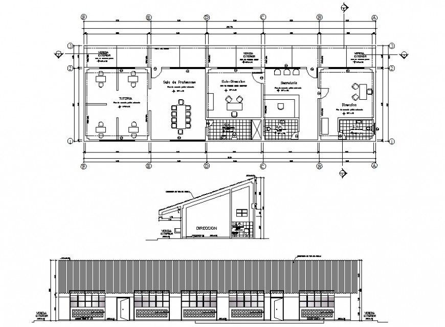 2d school office layout cad file