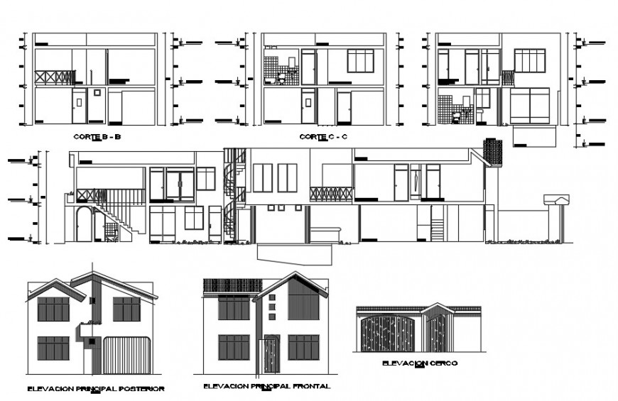 2d section and elevation of apartment drawings autocad file