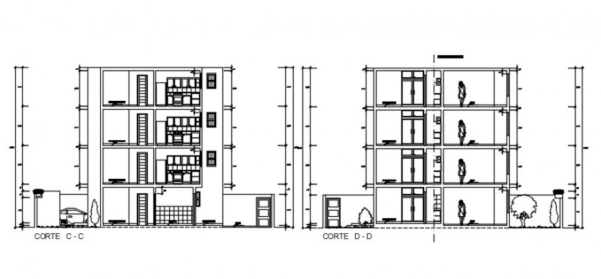 2d Sectional drawings details of apartment autocad software file