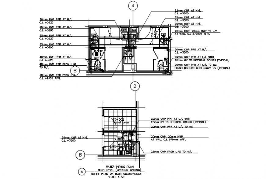 2d Toilet layout plan with installation detail dwg file