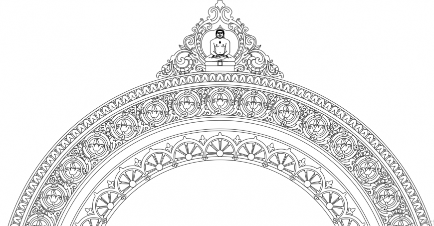 2d traditional temple gate drawing cad file