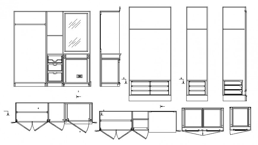 2d view autocad drawing of furniture wardrobe