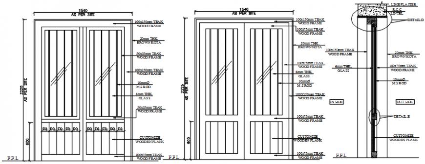 2d view CAD drawings details of double door blocks dwg autocad file