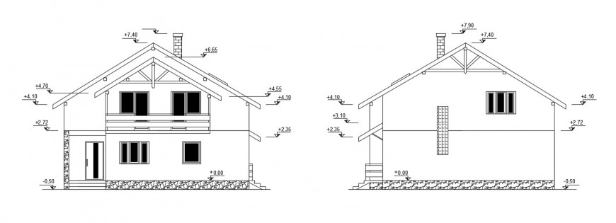 2d view CAD drawings details of house elevation dwg autocad file