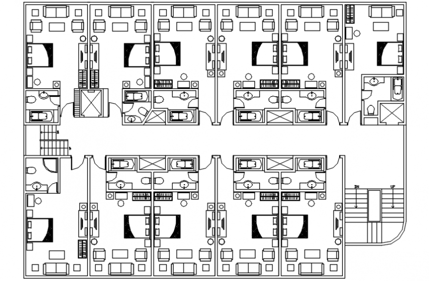 2d view CAD drawings of building layout plan autocad software file