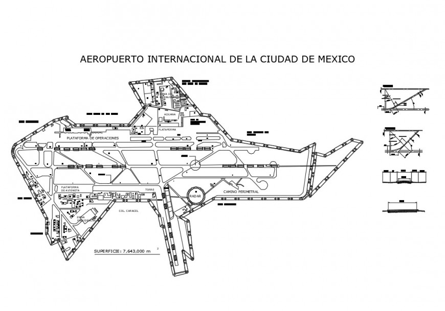 2d view construction detail plan of airport terminal building block layout file in dwg format