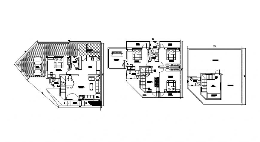 2d view drawing of house layout plan autocad software file