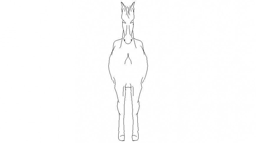 2d view drawings of horse elevation animal blocks dwg autocad file
