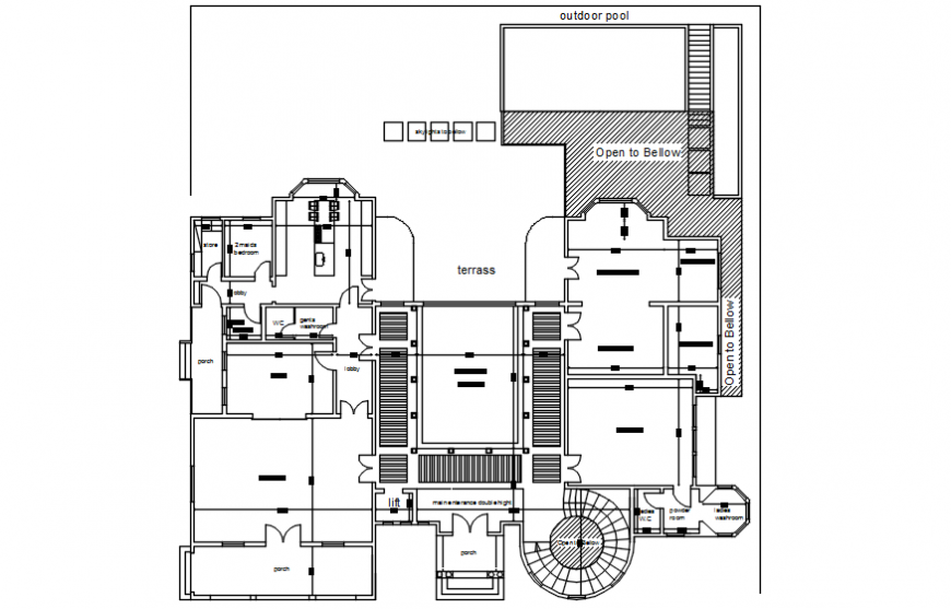 2d view drawings of house floor plan autocad software file