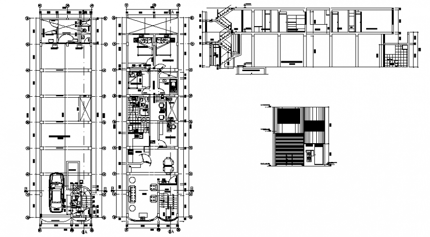2d view drawings of house layout floor plan elevation and a section autocad file