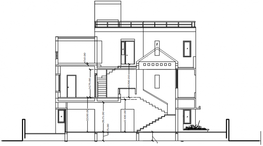 2d view drawings of housing blocks elevation dwg autocad file
