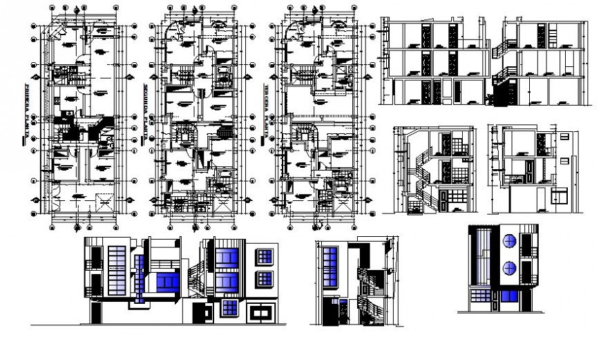 2d view drawings of housing units plan elevation and section autocad file