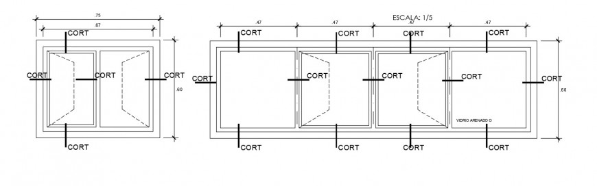 2d view drawings of window design frame autocad file