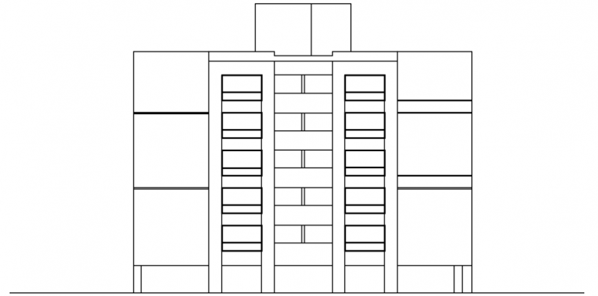 2d view elevation of apartment blocks autocad software file