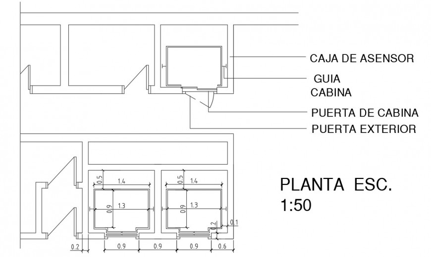 2d view elevation of elevator autocad software file