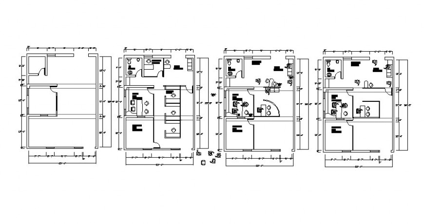 2d view floor plan drawings of office building autocad software file