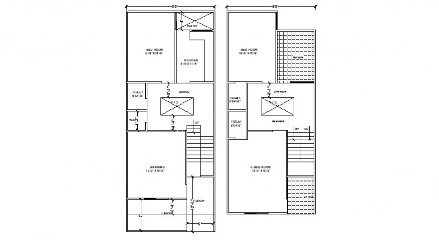 2d view floor plan of housing units layout autocad software file