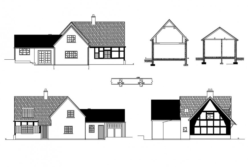 2d view House elevation plan Dwg file in Autocad format