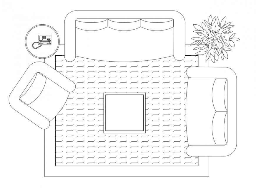 2d view of drawing room furniture units autocad file