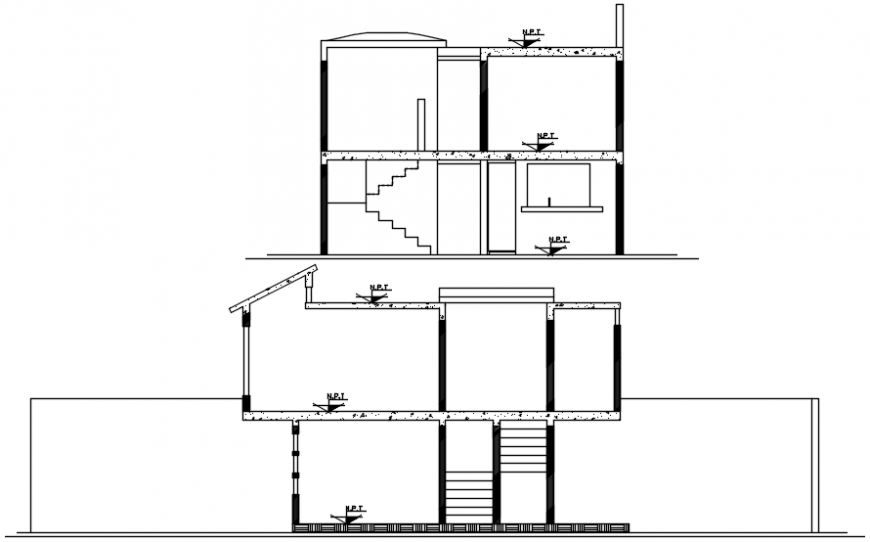 2d view of house section dwg autocad software file
