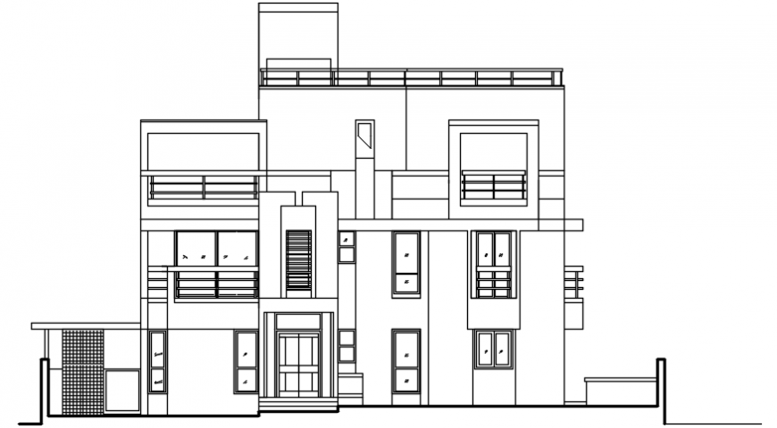 2d view of housing apartment elevation dwg autocad file