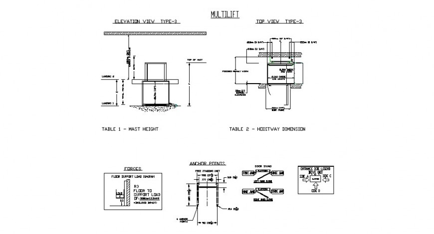 2d view of multi-purpose elevator block detail CAD mechanical unit block dwg file