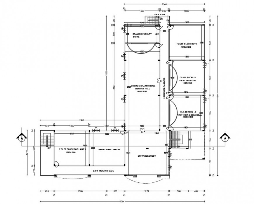 2d view of school building layout floor plan autocad software file