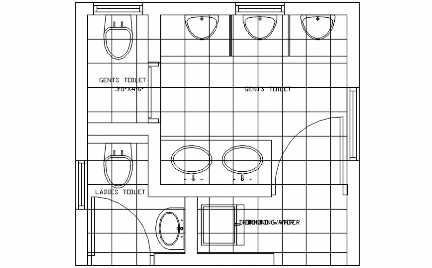 2d view plan of sanitary toilet area autocad software file