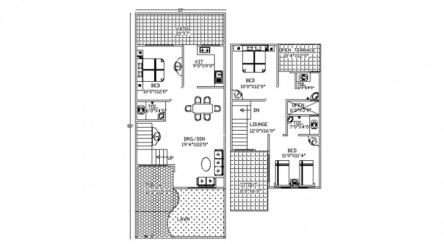 2d work layout of housing apartments autocad software file