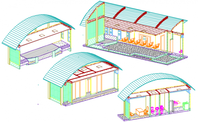 3  D salon commercial elevation plan detail dwg file