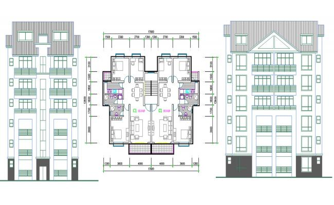 3 BHK Apartment Furniture Layout Plan DWG File