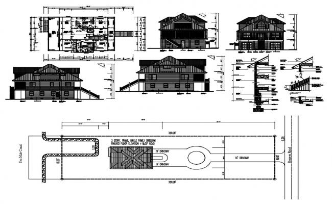 3 BHK Attic House Project AutoCAD File