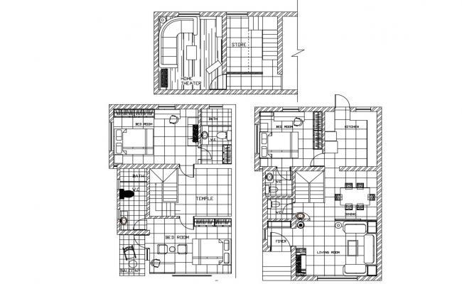 3 BHK Bungalow Design Furniture Layout Plan Download