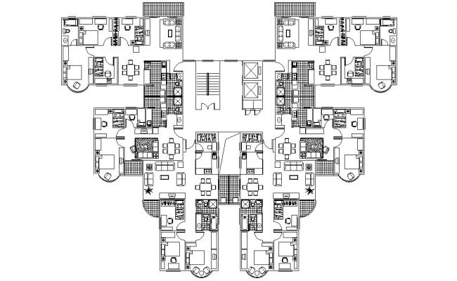 3 BHK Cluster Apartment Design Plan