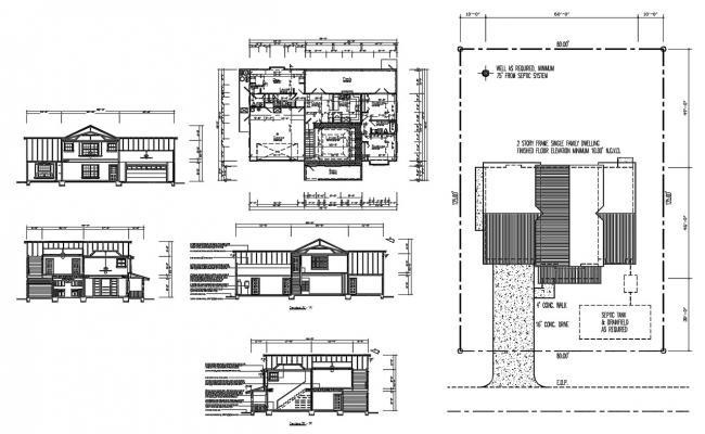 3 BHK House Plans AutoCAD File
