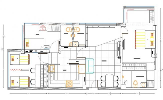 3 BHK Residential Bungalow Furniture Layout Plan